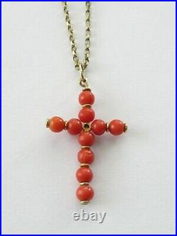 Antique Edwardian 18k Gold Natural Red Coral Beads Diamond Pendant Necklace