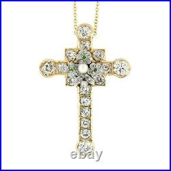 Antique Edwardian 18k Gold Old Diamond Tsavorite Pearl Cross Pendant Necklace