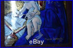 Antique Enamel Portrait Religious Limoges France Plaque Plato Virgin Mary Jesus