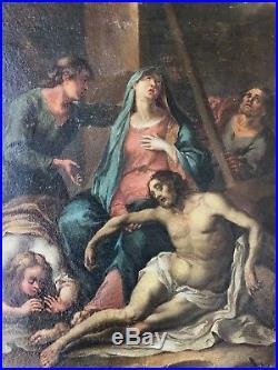 Antique European Religious Christ Oil Painting circa 17th century