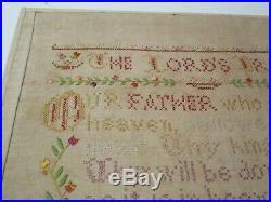 Antique Fine Old American Folk Art Needlepoint Sampler Prayer Religious 1880's