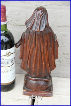 Antique Flemish 18th c oak Wood carved madonna statue figurine religious