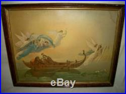 Antique Flying Angels Boat Print Bible Story Religious Wavy Glass Wood Back Old