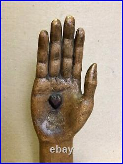 Antique Folk Art Santos Saints Hand Carving, Heart In Hand