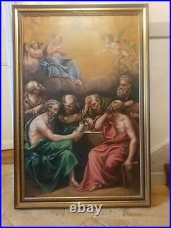 Antique French 19th Century Oil Painting on Canvas Assumption of the Virgin