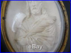 Antique French Carved Meerschaum Religious Reliquary 19th Jesus Christ