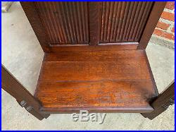 Antique French Carved Oak Gothic Vestment Cabinet Religious Church Prayer Room