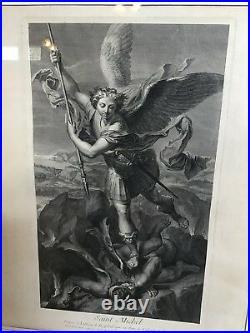 Antique French Etching Archangel Saint Michael Religious Attrib 19C