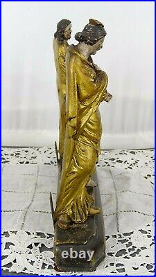 Antique French Gilded Wood Religious Statue 3 Characters on Plinth 18th