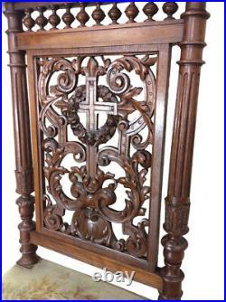 Antique French Gothic Church Kneeler, Prayer Chair, 19th Century, Religious