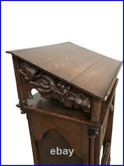 Antique French Gothic Lectern Podium, Religious, 19th Century, Oak