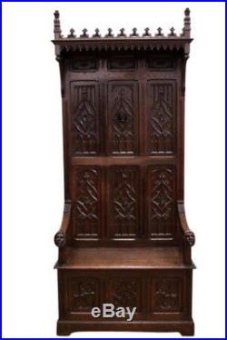 Antique French Gothic Throne Chair, Hooded Top, Nice Church or Religious Piece