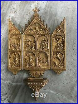 Antique French Icon Religious Gothic Ecclesiastical