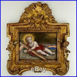 Antique French Limoges Enamel Copper Jesus Portrait Religious Plaque Gilt Frame