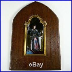 Antique French Limoges Enamel Portrait Plaque Joan of Arc, Religious Miniature
