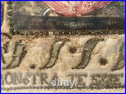 Antique French Painted Silk Stump Work, embroidered Religious Silk Panel