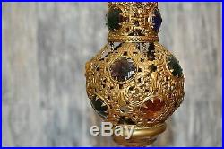 Antique French Religious Church Thurible Censer Jewels Stones Triple Chain Light