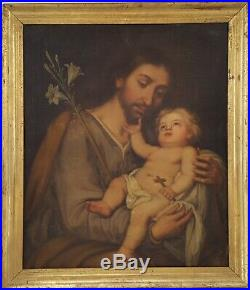 Antique French Religious Oil Painting, 18th Century Saint Joseph and Baby Jesus