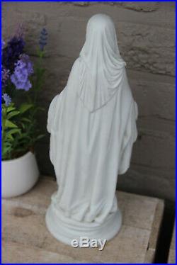 Antique French Religious porcelain bisque madonna figurine statue snake