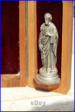 Antique French Religious travel triptych Crucifix Madonna joseph statue velvet