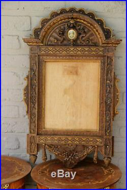 Antique French Religious wood carved painting Frame sacred heart christ rare