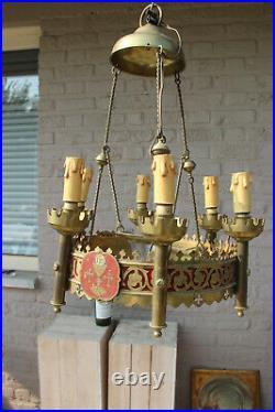 Antique French church Bronze enamel Neo gothic chandelier lamp religious