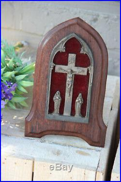 Antique French crucifix wood framed mary maria magdalena religious