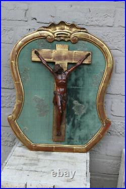 Antique French wood carved christ crucifix framed religious
