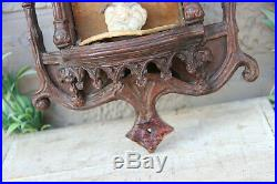 Antique French wood carved religious wall chapel meerschaum madonna neo gothic
