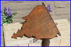 Antique French wood oak carved religious Wall console for saint statue