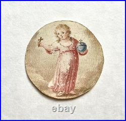 Antique Georgian Pocket Watch Paper Vellum Miniature Painting Baby Jesus 1 5/8