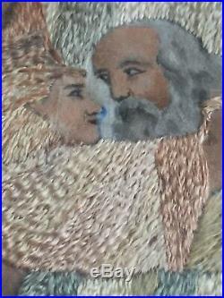 Antique Georgian silkwork embroidered needlework religious Christian art sampler