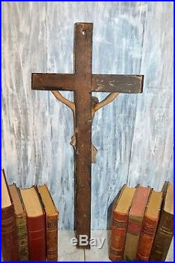 Antique German Large Carved Wood Crucifix Jesus Cross Religious Wall Mount 25