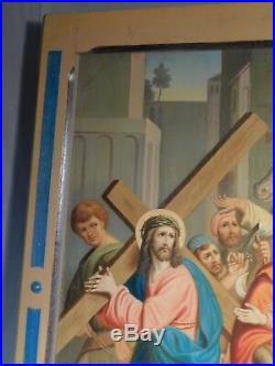 Antique German Oil Painting Station Cross Crucifixion Jesus Roman Soldier Cross