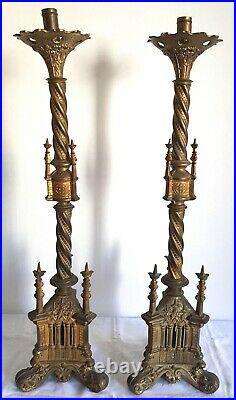 Antique Gilded Bronze Gothic Church Candlesticks Candelabra Religious 29 Inches
