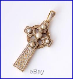 Antique Gold Enamel & Pearl Celtic Cross Pendant. Religious Crucifix Necklace