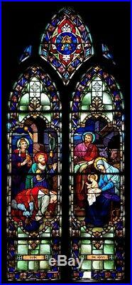 Antique Gothic Church Religious Stained Glass Window Depicting The Three Wiseman