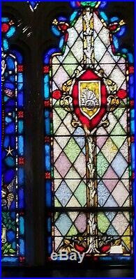 Antique Gothic Church Religious Stained Glass Window Jesus Christ Ascension