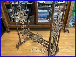 Antique Gothic Religious Side Table Wrought Iron Hammered Details Lions Head