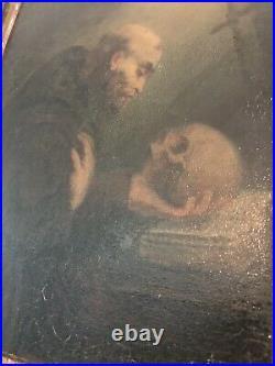 Antique Grand Master Oil Painting Memento Mori Religious Art Saint & Skull