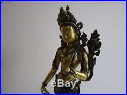 Antique Guanyin Kwan Yin Bronze Gold Silver Sculpture Fine Buddha Icon Statue