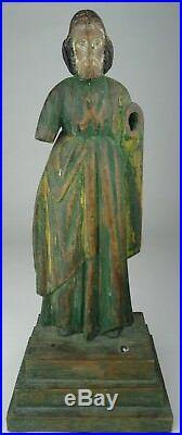 Antique Hand Carved Wood Figure Of Saint Santos Painted Religious Figure