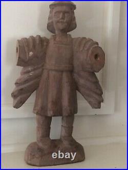 Antique Hand Carved Wooden Religious Folk Art Archangel Michael Statue