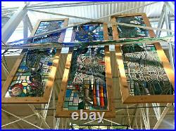 Antique Hand Made Religious Stained Glass Window, Cedar Framed, 106 in Tall