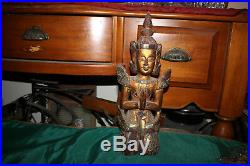 Antique Hindu Wood Carved Statue-Woman God In Prayer