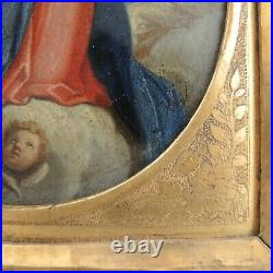 Antique Immaculate Conception Painting Copper Virgin Mary Saint Italian School