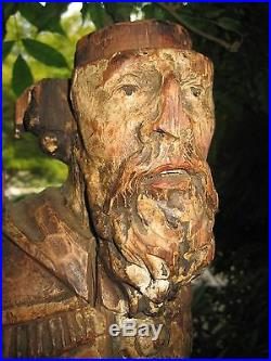Antique Impressive X-large Early Carved Wood Religious Sculpture Saint Santo