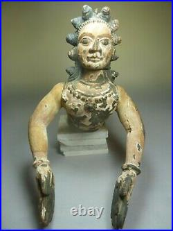 Antique Indian India carved wooden figure statue religious polychrome painted