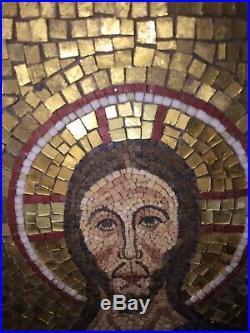 Antique Italian Micro Mosaic Plaque Vatican Studio Byzantine Religious Art Italy