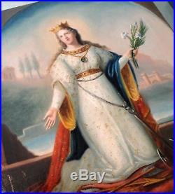 Antique Italian Oil on Canvas Religious Painting St Philomena Anchor Arrow c1840